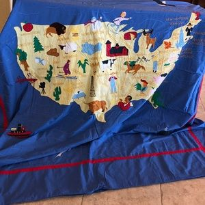 Land of Nod full / Queen duvet cover map of USA